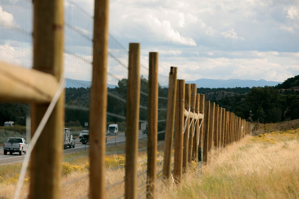 Eight-foot-tall fencing along both sides of U.S. Highway 285 in Colorado helps funnel animals toward a special underpass crossing. (Photo by Matthew Staver for The Washington Post)