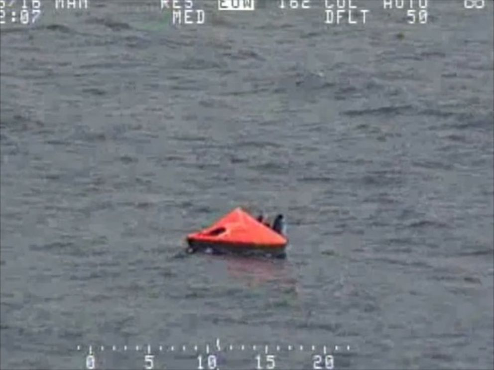 One of the life rafts containing crew from the fishing vessel Alaska Juris abandoned by its crew of 46 in the Bering Sea when it took on water Tuesday, July 26, 2016. (Screen grab from U.S. Coast Guard video by Petty Officer 1st Class Kelly Parker)