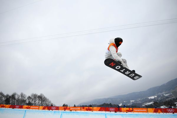 Shaun White of the U.S. competes in the men's halfpipe finals on Feb. 14, 2018, in the Pyeongchang Winter Olympics. REUTERS/Dylan Martinez