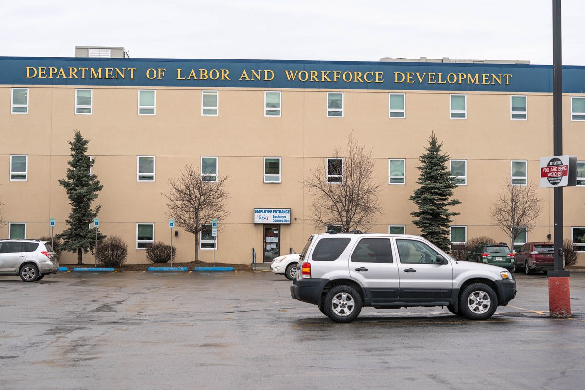 The Alaska Department of Labor and Workforce Development office in Midtown Anchorage on Wednesday, April 15, 2020. The building houses the Job Center, which provides services to out-of-work Alaskans. (Loren Holmes / ADN)