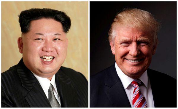 Kim Jong Un and Donald Trump (KCNA handout photo and Lucas Jackson / Reuters file)