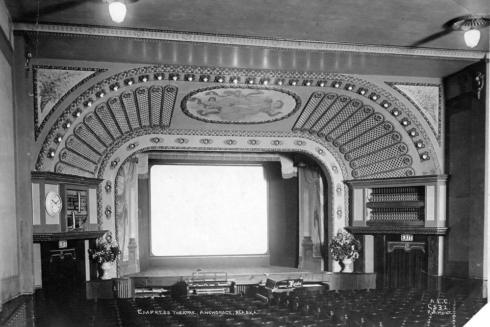 Interior of the Empress Theatre. (Photograph by P.S. Hunt, Alaska Engineering Commission, Anchorage Museum, AEC-G532.)
