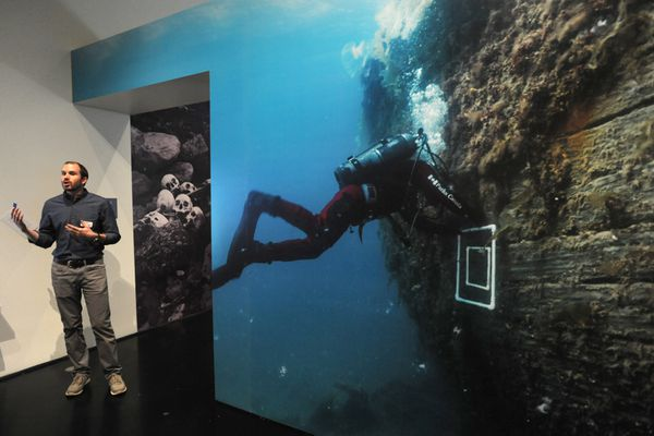 Ryan Kenny, associate director exhibitions, at the Anchorage Museum in the Death in the Ice: The Mystery of the Franklin Expedition exhibit at the Anchorage Museum. (Bill Roth / ADN)