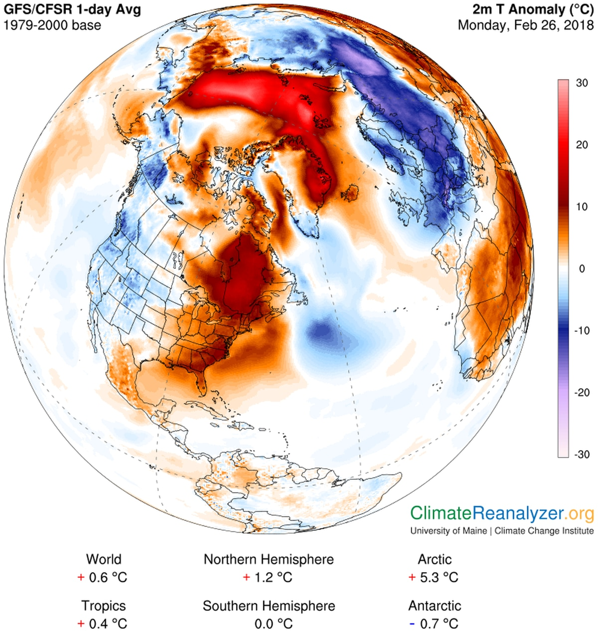 Analysis of temperature difference from normal (in Celsius) on Sunday over the Arctic. The temperature was believed to be above freezing at the North Pole. (University of Maine Climate Re-analyzer)