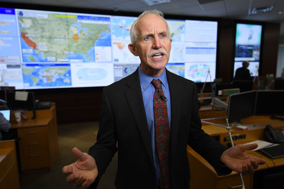 Jay Butler, Deputy Director for Infectious Diseases addresses the media about response to the 2019 Novel Coronavirus, inside the Emergency Operations Center at The Centers for Disease Control and Prevention (CDC), Thursday, Feb. 13, 2020, in Atlanta. (AP Photo/John Amis)