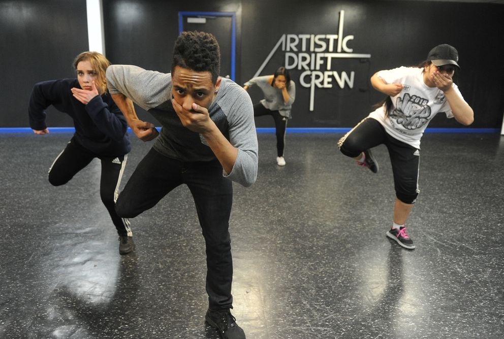 Marcus Freeman, in front, Robyn Minor, Maichoua Xiong and Brenda Wenio rehearse a new dance Freeman choreographed on Tuesday, Aug. 2, 2016, in Anchorage. The Artistic Drift crew is preparing for a studio grand opening at the Northway Mall Friday, Aug. 12, 2016. (Bob Hallinen / Alaska Dispatch News)