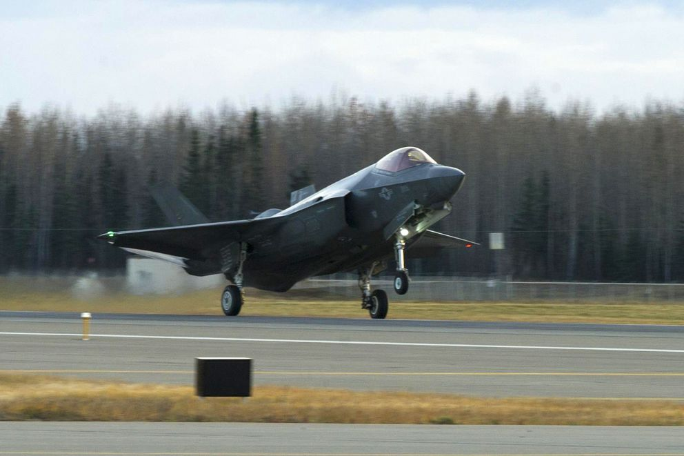 A U.S. Air Force F-35A Lightning II fighter aircraft lands on the runway Oct. 12, 2017, at Eielson Air Force Base. This is the first time in history an F-35, fifth-generation multirole fighter aircraft, has landed at Eielson. (Eric M. Fisher / U.S. Air Force)