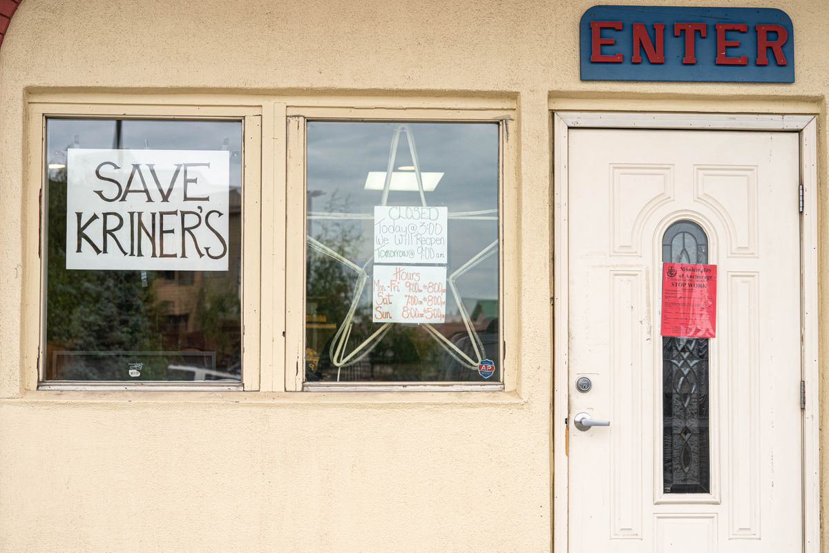 A stop work order, directing the restaurant to close indoor dining, is posted on the door of Kriner's Diner on Saturday, Aug. 8, 2020 in Anchorage. T (Loren Holmes / ADN)