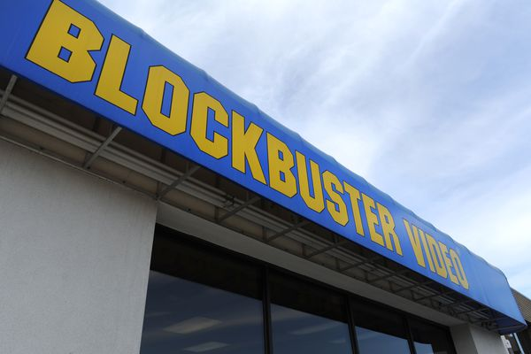 The Blockbuster store at corner of Old Seward Highway and Huffman Road began selling its inventory on Tuesday, April 3, 2018, after the closure of the business on Sunday. (Bill Roth / ADN)