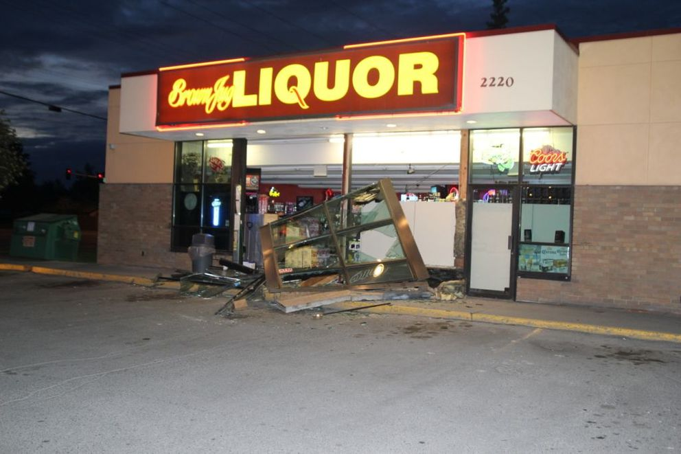 A Brown Jug Liquor store located at 2220 E. Northern Lights had its exterior smashed by a front-end loader in the early morning hours of May 26, 2016. (Courtesy Anchorage Police Department)