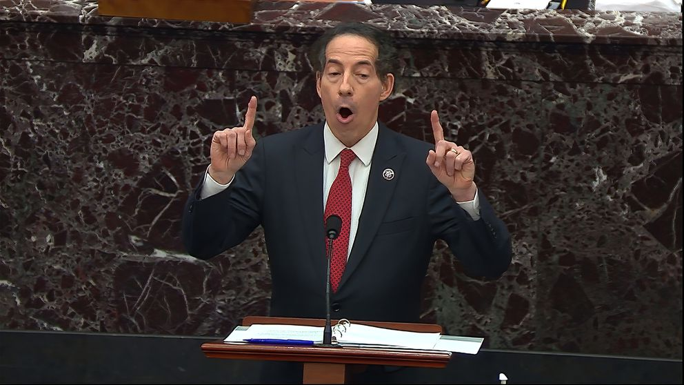In this image from video, House impeachment manager Rep. Jamie Raskin, D-Md., speaks during the second impeachment trial of former President Donald Trump in the Senate at the U.S. Capitol in Washington, Tuesday, Feb. 9, 2021. (Senate Television via AP)
