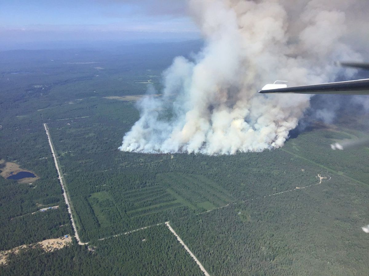 An aerial photo of the Montana Creek Fire taken on initial attack Wednesday, July 3, 2019. At 5 p.m. the fire had grown to an estimated 70 acres and was burning east of Montana Creek Road near Mile 98 of the Parks Highway. (Jason Jordet/Alaska Division of Forestry)