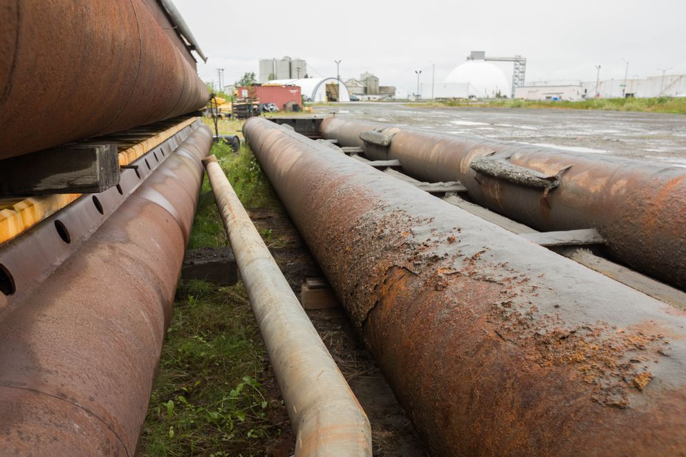 Corroded metal pipes, part of a fender that collapsed earlier this summer, sit in a storage area at the Port of Anchorage. (Loren Holmes / Alaska Dispatch News)