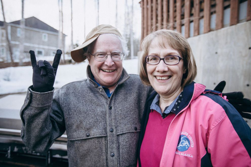 Terrence Cole (left) poses with fellow University of Alaska Fairbanks history professor Mary Ehrlander in Fairbanks in spring 2018.