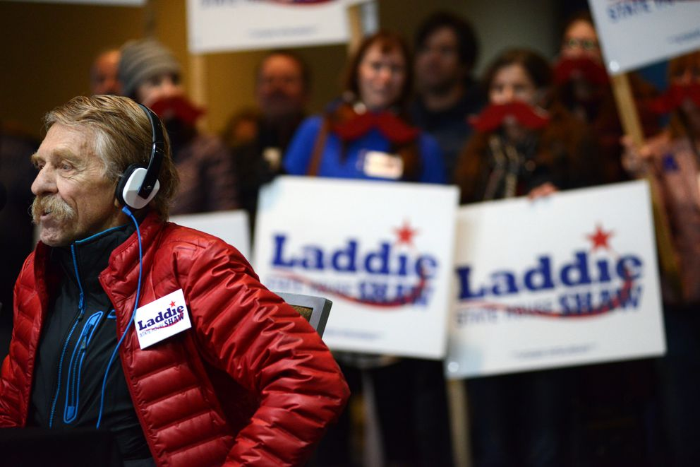 Laddie Shaw takes a turn at the microphone with Jeff Landfield at Election Central, Nov. 6, 2018. (Anne Raup / ADN)