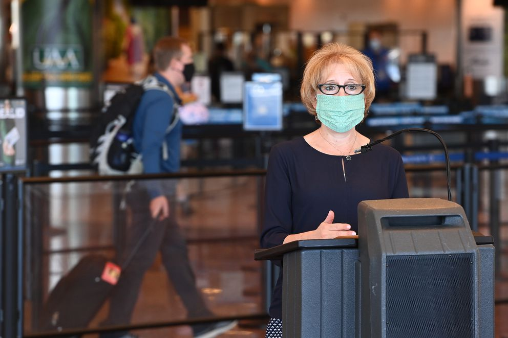 Lorie Dankers, Transportation Security Administration (TSA) spokesperson for Alaska, speaks during a press conference at Ted Stevens Anchorage International Airport on Monday. (Bill Roth / ADN)