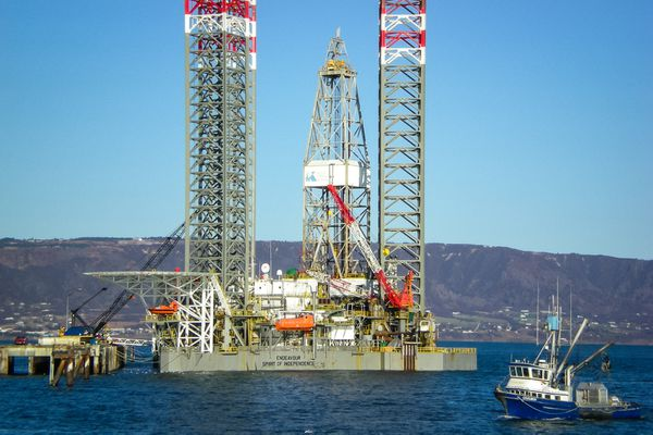 Slated for future drilling work in Cook Inlet, Buccaneer Energy's Endeavour jack-up rig stayed in the Homer harbor all winter.