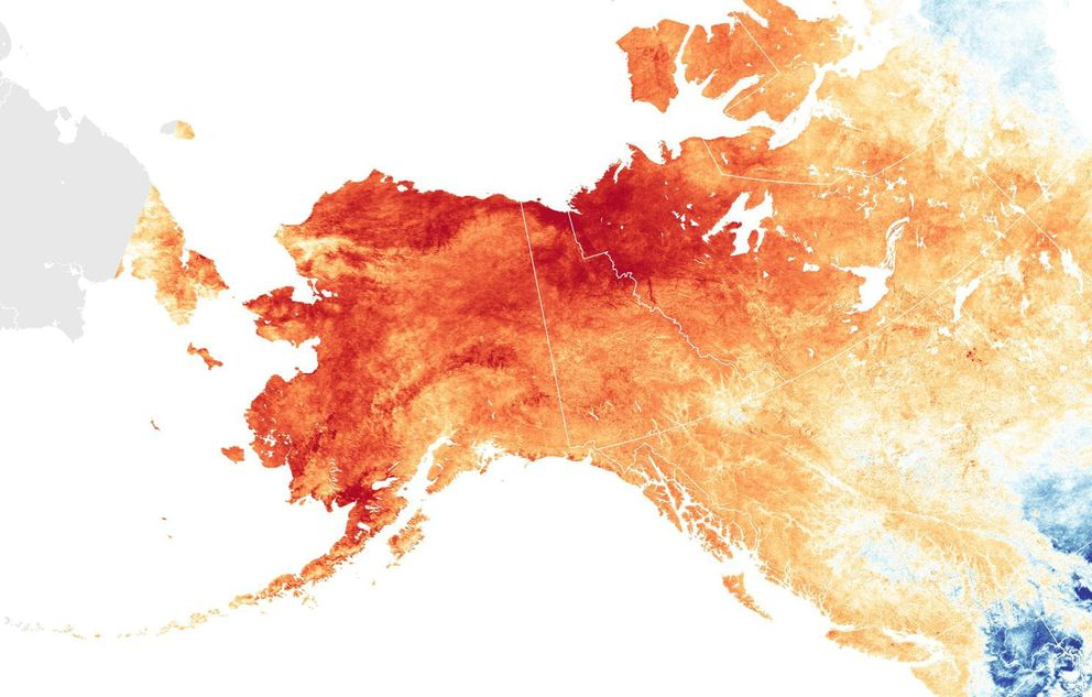 Land surface temperature anomalies from March 1-31, 2019. Red colors depict areas that were hotter than average for the same month from 2000-2012; blues were colder than average. (NASA Earth Observatory)
