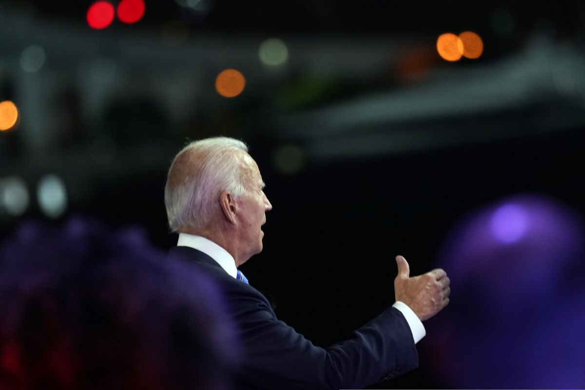 Democratic presidential candidate former Vice President Joe Biden speaks at a NBC Town Hall at Pérez Art Museum, Monday, Oct. 5, 2020, in Miami. (AP Photo/Andrew Harnik)