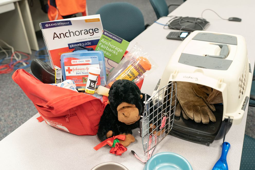 An example of an earthquake kit, photographed Thursday, Nov. 21, 2019 at the Anchorage Emergency Operations Center. (Loren Holmes / ADN)