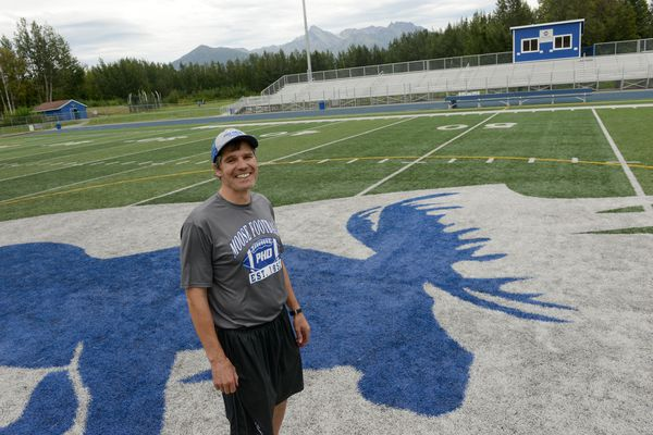 Palmer Head coach Rod Christianson poses for a photograph after football team practice at Palmer High on Wednesday, August 9, 2017. (Bob Hallinen / Alaska Dispatch News)