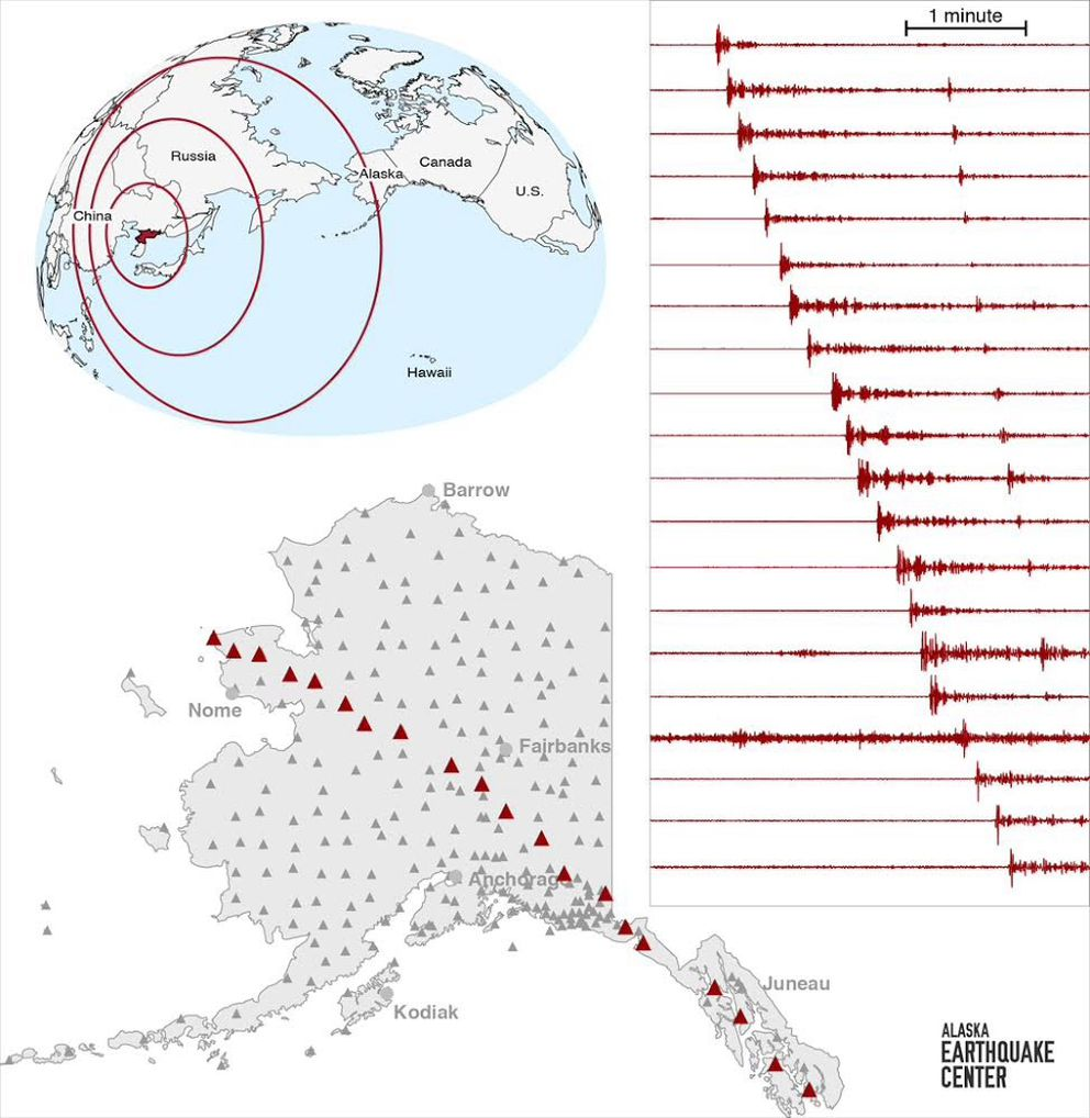 Alaska seismometer recordings of an underground nuclear bomb detonation Sept. 2 in North Korea. The energy reached Alaska just after 7:30 p.m. that day. (Helena Buurman / Alaska Earthquake Center)