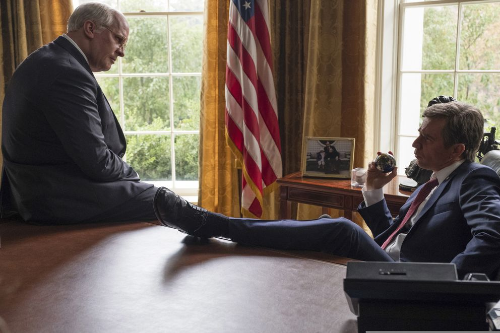 This image released by Annapurna Pictures shows Christian Bale as Dick Cheney, left, and Sam Rockwell as George W. Bush in a scene from 'Vice. ' (Matt Kennedy/Annapurna Pictures via AP)
