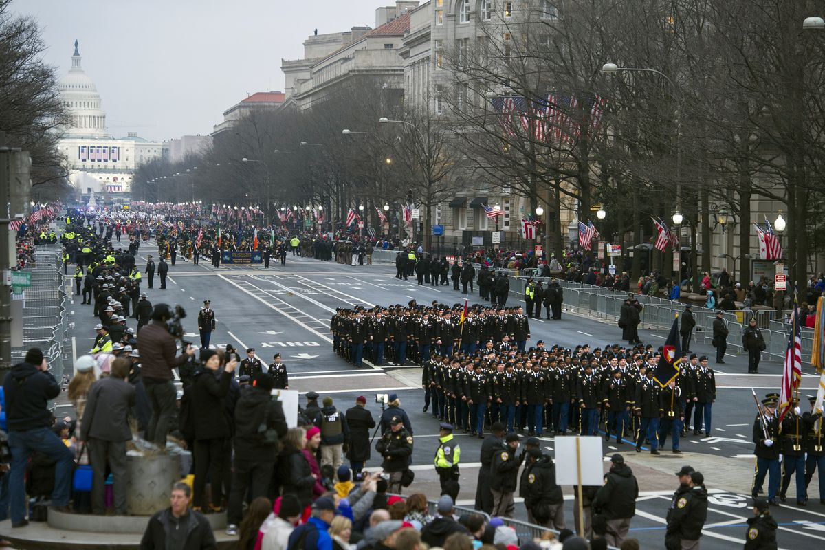 Military units participate in the inaugural parade from the Capitol to the White House in Washingtonon Jan. 20, 2017. (AP Photo/Cliff Owen, File)