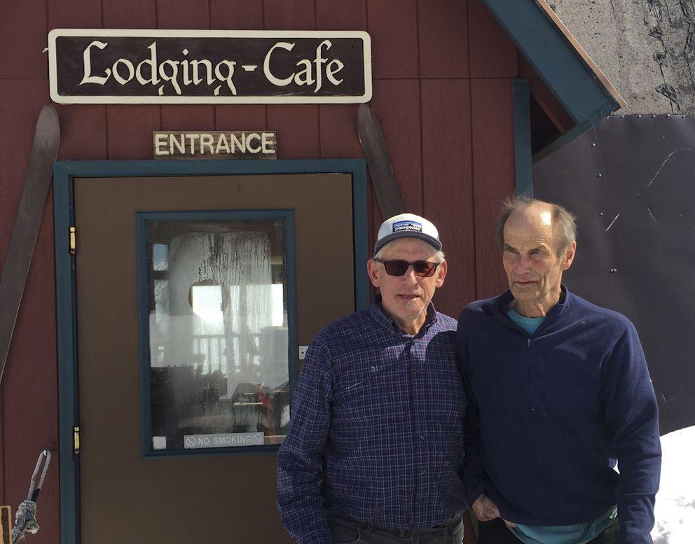 Ralph Baldwin and Hap Wurlitzer at the Hatcher Pass Lodge. (Photo courtesy of Ralph Baldwin)