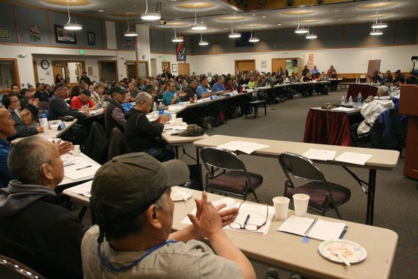 Tribal members and delgates to the Association of Village Council Presidents convention are seen on Thursday, Oct. 6, 2016, at the Yupiit Piciryarait Cultural Center in Bethel. (Lisa Demer / Alaska Dispatch News)