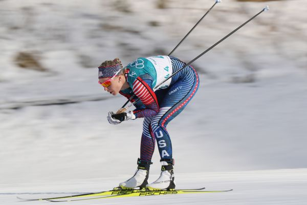 Feb 15, 2018; Pyeongchang, South Korea; Sadie Bjornsen (USA) competes during the ladies cross country 10km freestyle Pyeongchang 2018 Olympic Winter Games at Alpensia Cross-Country Centre. Mandatory Credit: Matt Kryger-USA TODAY Sports