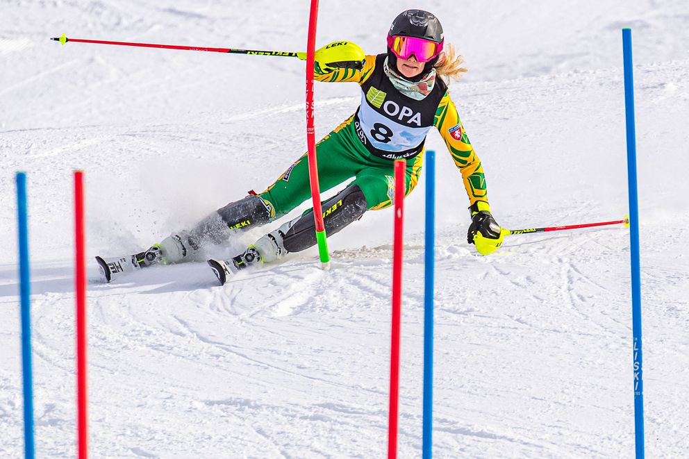 UAA senior Rebecca Fiegl on her way to a slalom win on Monday. She won three of the four women's races Monday and Tuesday at the Western Region FIS Open Tech championships. (Photo by Bob Eastaugh)