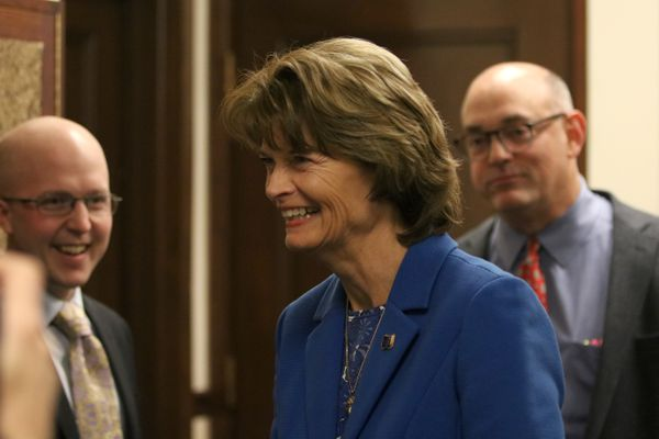 U.S. Sen. Lisa Murkowski visits after delivering her annual speech to the Alaska Legislature at the Capitol in Juneau on February 22, 2018. (Nathaniel Herz / ADN)