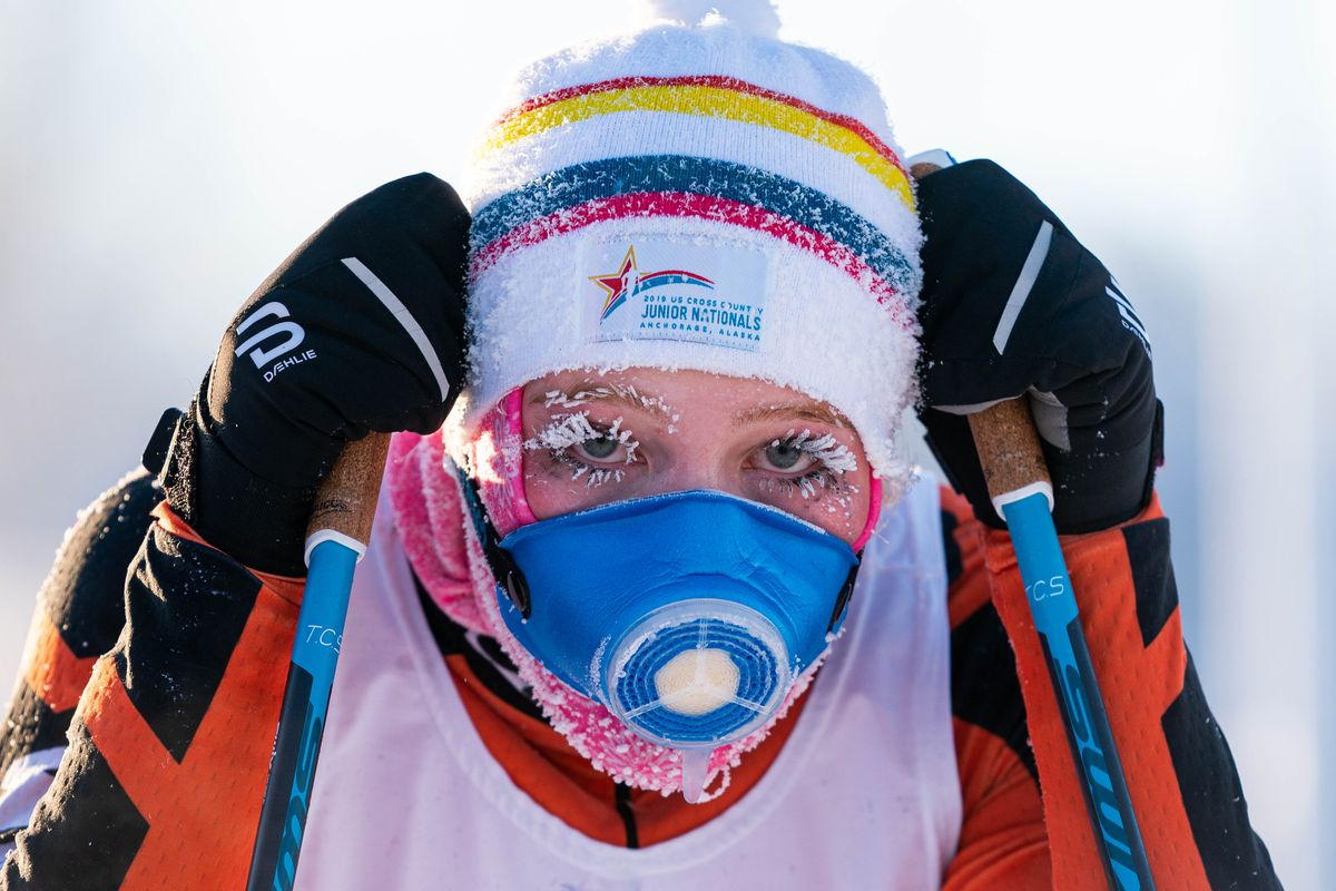 West High skier Sammy Legate is covered in frost after finishing Saturday's skiathlon cross-country ski race Saturday at Kincaid Park. Temperatures on the course nearly dipped to minus 5, the cutoff for high school races. (Loren Holmes / ADN)