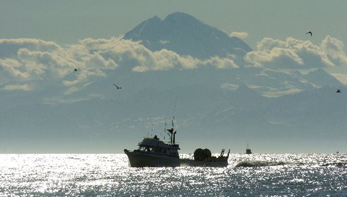 "With the 10,197-foot volcano Mount Redoubt towering above in the distance, the 42-foot drift gillnetter ""Sosueme"" nears the mouth of the Kasilof River during a sunny day in June 2005. (Bill Roth / ADN archive 2005)"