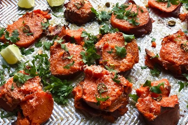 Crispy smashed sheet-pan sweet potatoes (Photo by Kim Sunée)