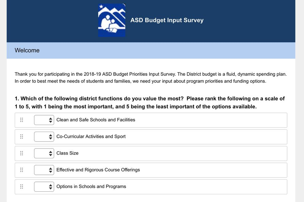 The Anchorage School District has created an eight-question online survey to gauge where community members think the district can trim its budget and what aspects of education they value most. (ASD website screenshot)