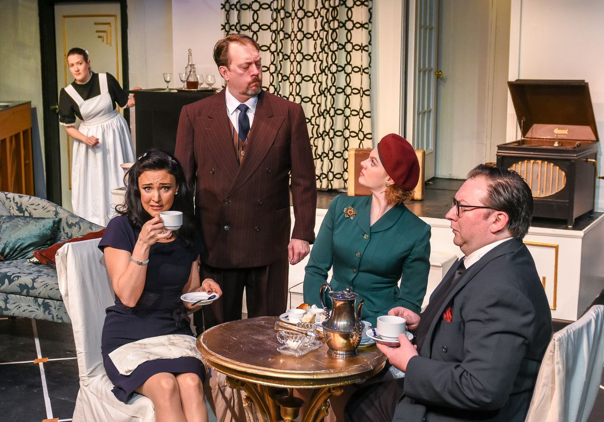 "Sibyl (Stefanie Suydam), Elyot (Frank Delaney), Victor (Jay Burns) and Amanda (Rebecca Mahar) have an awkward breakfast together in ""Private Lives"" at Cyrano's. (Photo by Frank Flavin)"