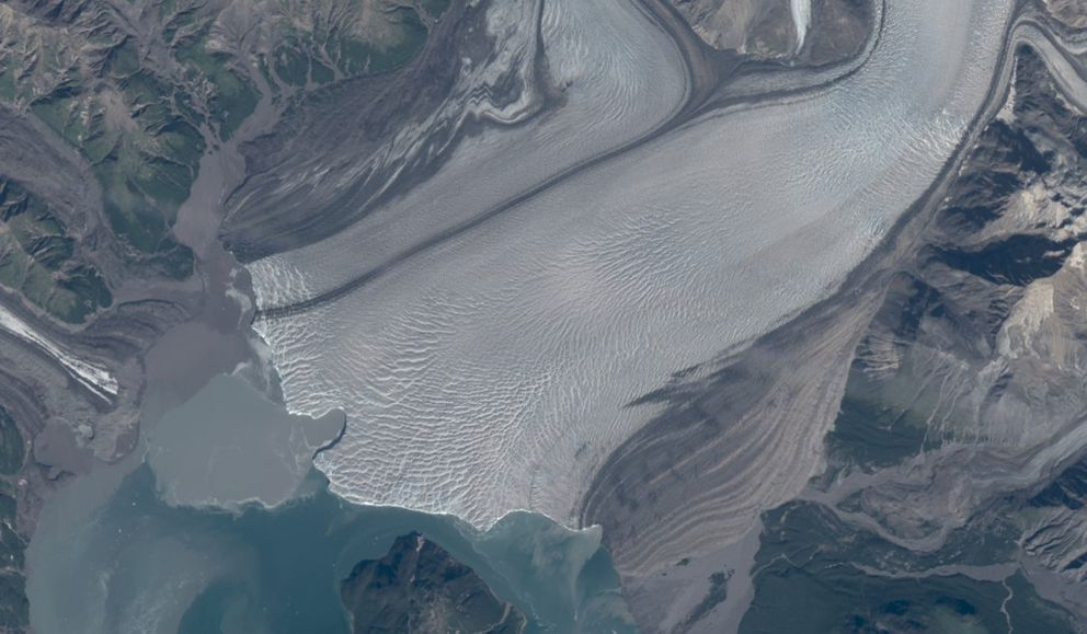 A recent 'embayment ' bite out of the face of Hubbard Glacier, which may indicate the presence of a subglacial river. (Image courtesy Mark Fahnestock)
