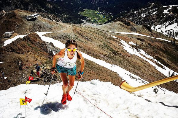 Former U.S. Olympic nordic skier Morgan Arritola, a three-time U.S. Mountain Running champion, will make her Mount Marathon debut Tuesday in Seward. Arritola, 31, is a former Olympic teammate of past Mount Marathon champions Holly Brooks and Kikkan Randall. Arritola attends Boise State University in Idaho and is studying respiratory therapy. Morgan Arritola runs in the Broken Arrow Sky Race in Squaw Valley, Calif. (Alpenglow Sports)