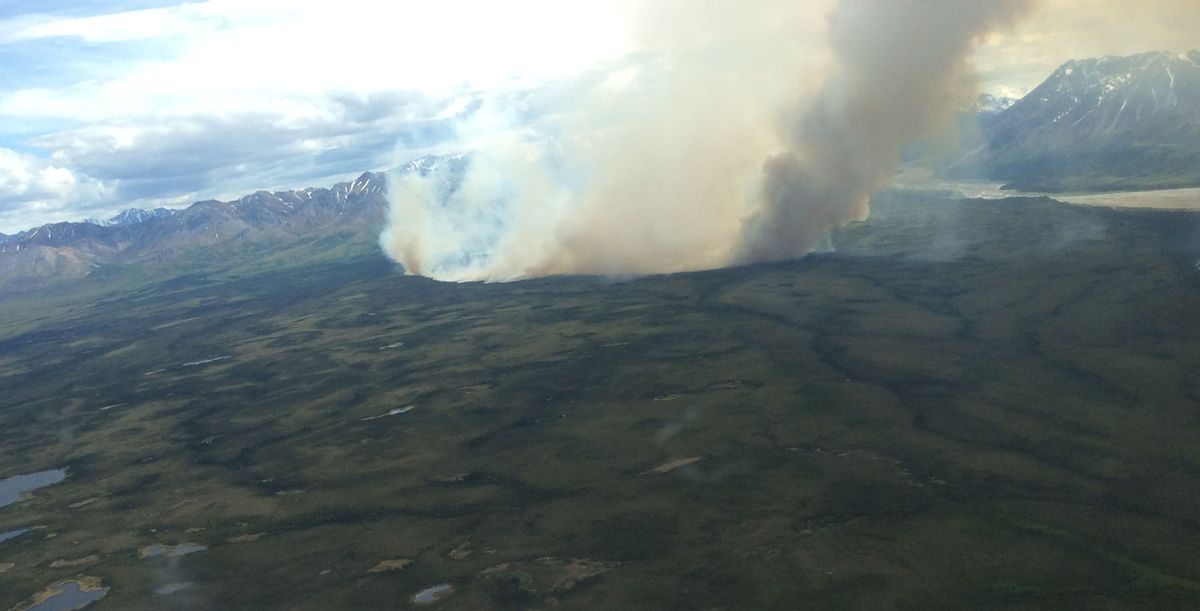 The Pitka Fork Fire burning 60 miles east of McGrath puts up smoke on Tuesday. (Matt Snyder/ Alaska Department of Natural Resources / Department of Forestry)