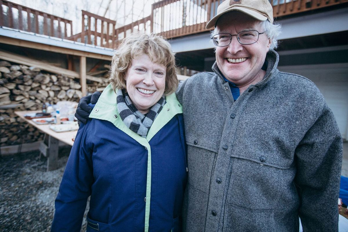 Terrence Cole (right) and his sister Maureen Whitehead at a friend's house in Fairbanks in spring 2018. (Photo by Artem Zhdanov)