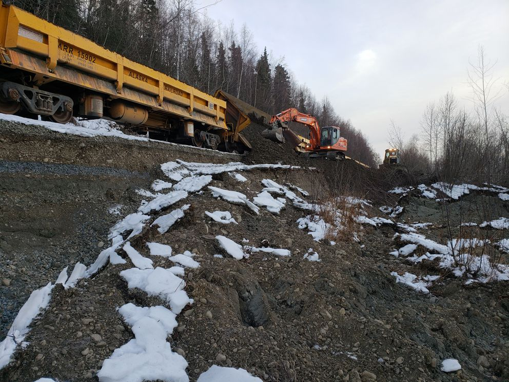 Alaska Railroad crews work to repair stretches of track rendered impassable after the Nov. 30 earthquake of 7.0 magnitude that shook Southcentral. Service to Fairbanks suspended immediately after the damage was set to resume Monday, Dec. 3. (Photo/Courtesy/Alaska Railroad Corp.)