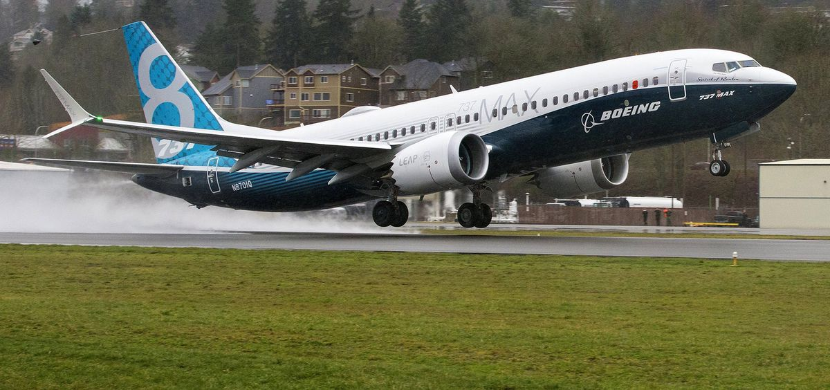 Seven weeks after it rolled out of the paint hangar, Boeing's first 737 MAX, the Spirit of Renton, flies for the first time Jan. 29, 2016, from Renton Municipal Airport. (Mike Siegel/The Seattle Times/TNS)