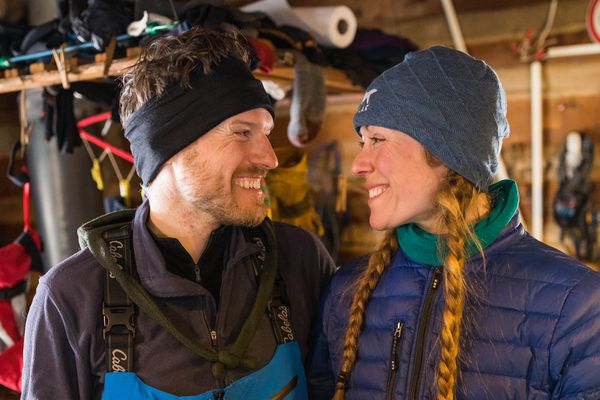 Kristy Berington and her husband Andy Pohl tell the story of how they met on Thursday, March 8, 2018 in Ophir. Berington was mushing the Iditarod and Pohl was biking the Iditarod Trail Invitaitonal when they met in Ophir in 2014. (Loren Holmes / ADN)