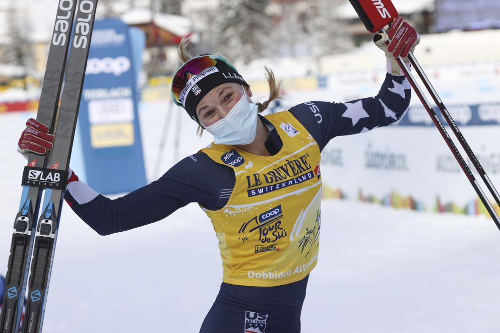 Jessie Diggins of the USA celebrates after winning a Tour de Ski, women's 10-kilometer freestyle, interval start cross-country ski event, in Dobbiaco (Toblach), Italy, on Tuesday. (Alessandro Trovati / Associated Press)