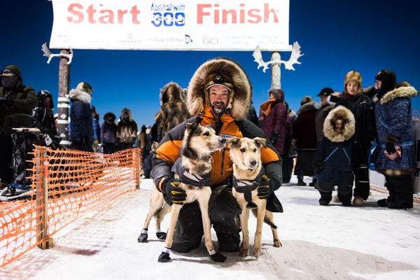"Pete Kaiser won his fourth consecutive Kuskokwim 300 on Sunday morning, Jan. 21, 2018. Icy conditions and a lack of snow made for a tough trail. ""It was extremely tough, probably one of the toughest if not the toughest races I've ever done,"