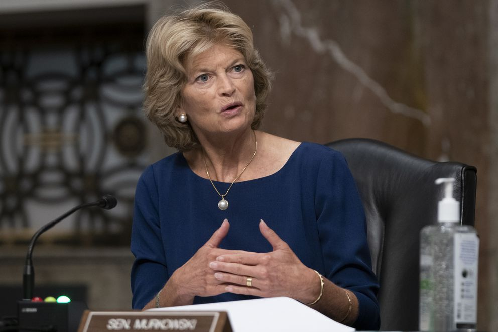 Sen. Lisa Murkowski, R-Alaska, questions witnesses during a Senate Senate Health, Education, Labor, and Pensions Committee Hearing on the federal government response to COVID-19 on Capitol Hill Wednesday, Sept. 23, 2020, in Washington. (Alex Edelman/Pool via AP)