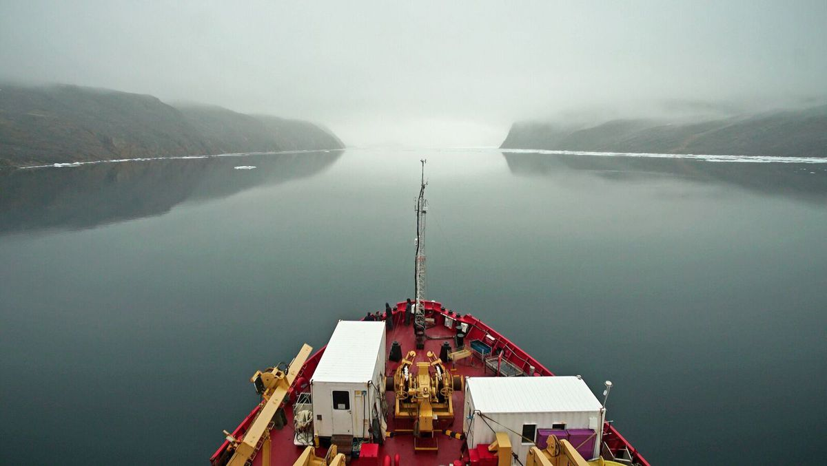 The CCGS Amundsen heads into Bellot Strait, a narrow waterway that divides the Boothia Peninsula and Somerset Island, on Aug. 11. (Washington Post photo by Alice Li)