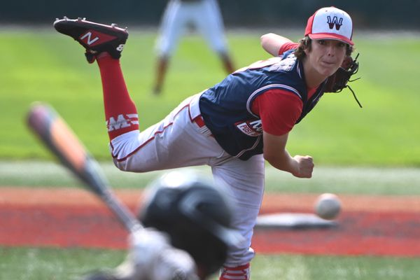Wasilla freshman Logan Bailey pitched a complete game during the Road Warriors' 11-1 victory over South Wolverines to advance to the final of the Alliance State Baseball tournament at Mulcahy Stadium on Tuesday afternoon, July 28, 2020. (Bill Roth / ADN)